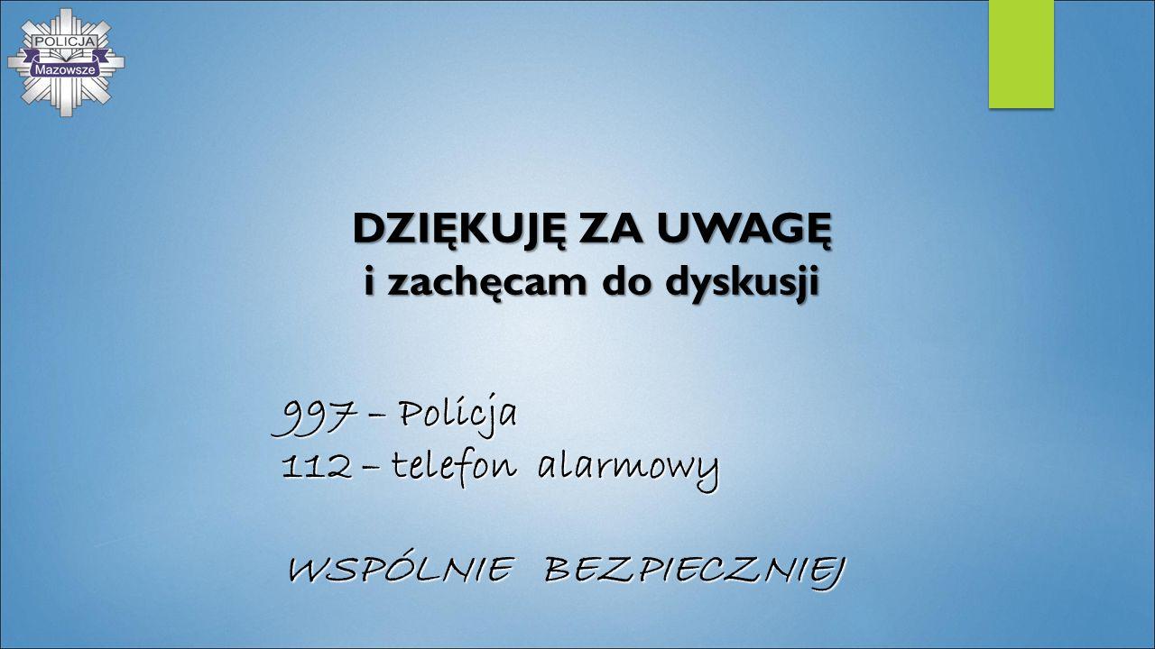 DZIĘKUJĘ ZA UWAGĘ i zachęcam do dyskusji 997 – Policja 112 – telefon alarmowy WSPÓLNIE BEZPIECZNIEJ