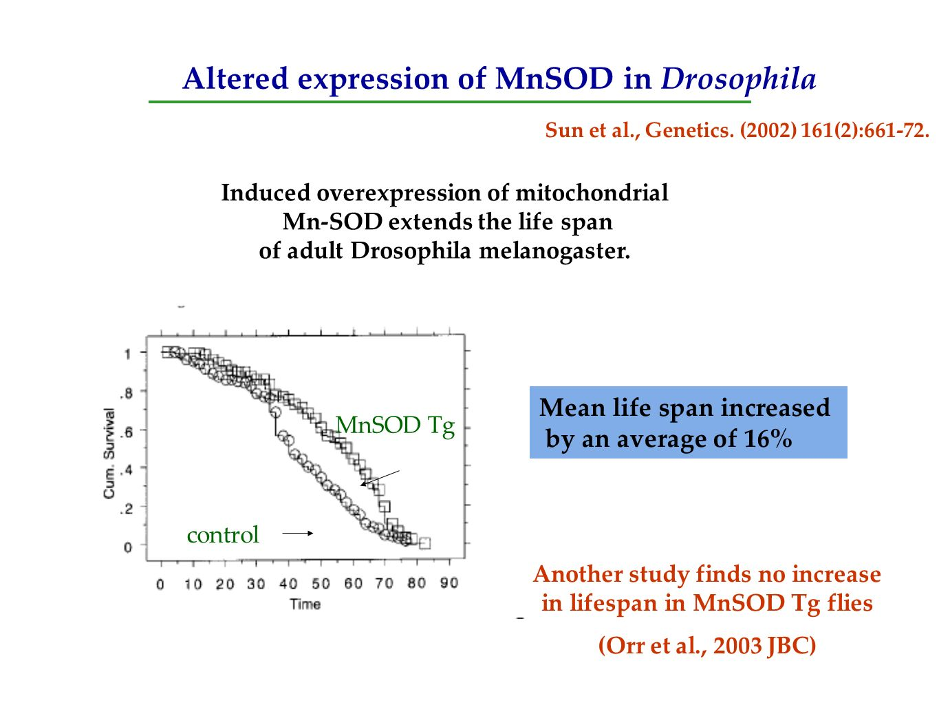Altered expression of MnSOD in Drosophila Induced overexpression of mitochondrial Mn-SOD extends the life span of adult Drosophila melanogaster. Sun e