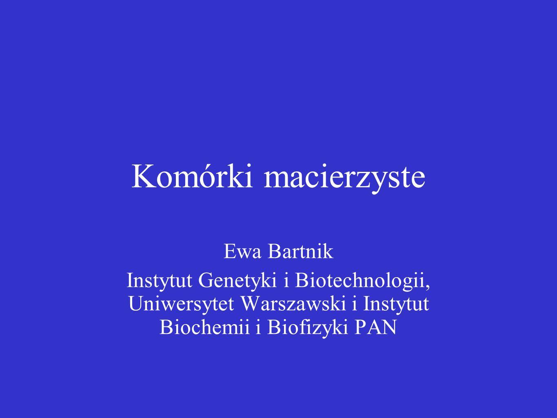 Komórki macierzyste Ewa Bartnik Instytut Genetyki i Biotechnologii, Uniwersytet Warszawski i Instytut Biochemii i Biofizyki PAN