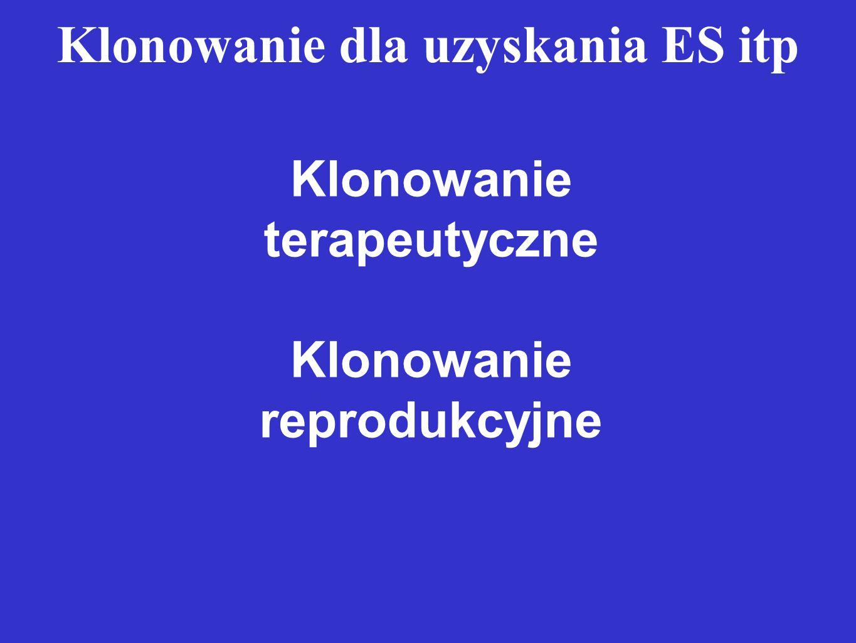 Klonowanie dla uzyskania ES itp Klonowanie terapeutyczne Klonowanie reprodukcyjne