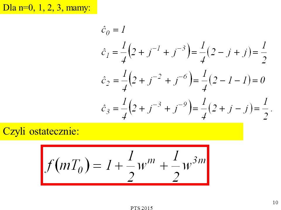 PTS 2015 11 Dyskretna Transformata Fouriera DEFINICJA Dany jest ciąg o N liczbach rzeczywistych lub zespolonych.