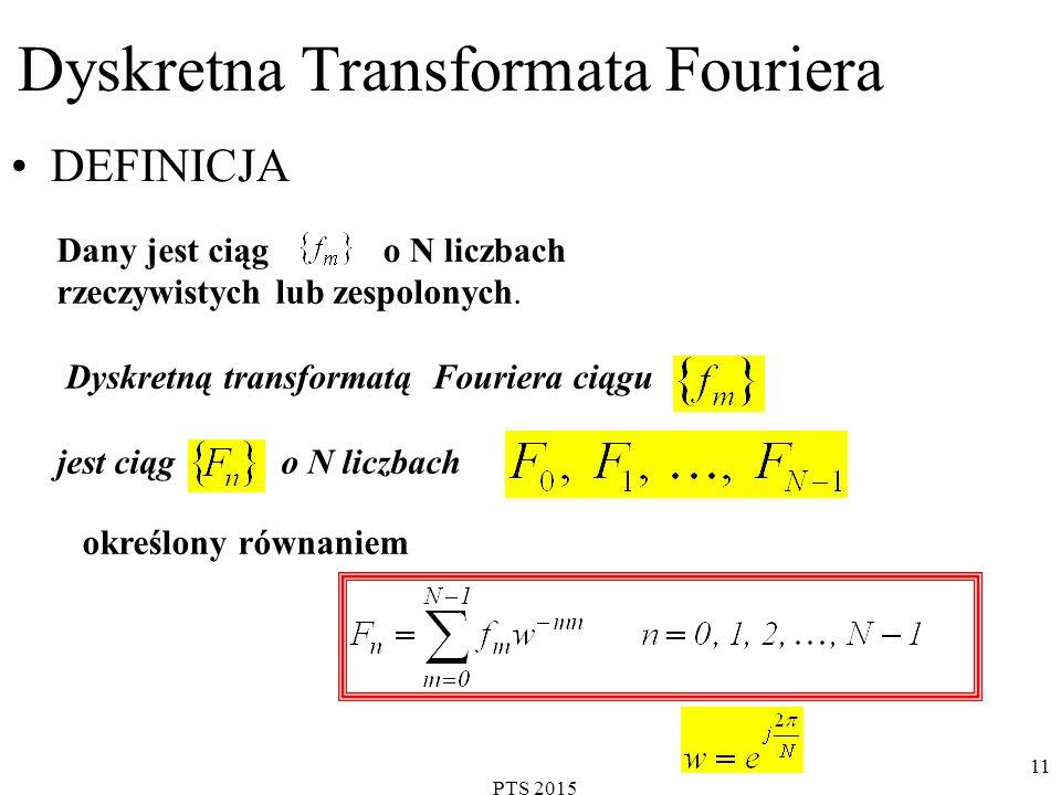PTS 2015 12 Transformata odwrotna: UWAGA: Ciąg nie musi być okresowy a jego elementy mogą być liczbami zespolonymi