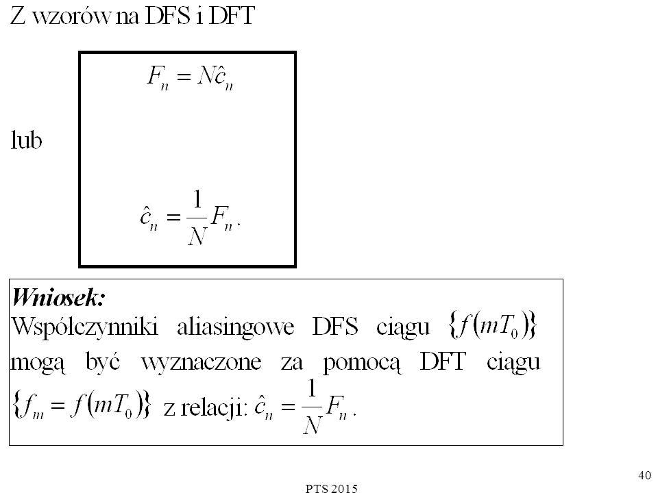 PTS 2015 41 Algorytm FFT  wstęp koszt znalezienia dla ustalonej wartości n, wynosi: mnożeń sumowań.