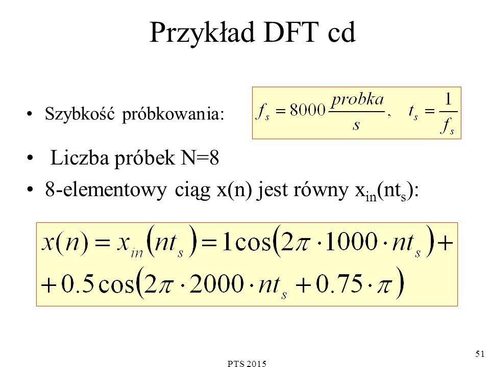 PTS 2015 52 Przykład DFT cd Wartości częstotliwości N kolejnych punktów na osi częstotliwości, w których wyznaczane są prążki DFT (widmo a-f transformaty), są określane jako: Czyli dla wybranej częstotliwości f s = 8000 próbek/s wyniki DFT określają składowe sygnału x(n) w punktach osi częstotliwości:
