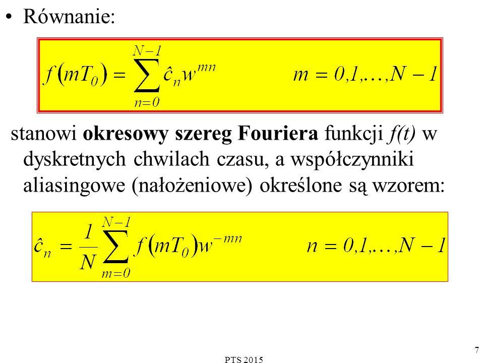 PTS 2015 8 Przykład Wyznaczyć dyskretny szereg Fouriera funkcji podanej na rysunku (N=4): Dyskretny szereg Fouriera cd