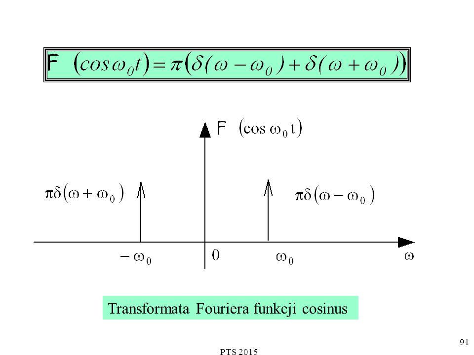 PTS 2015 92 Transformata Fouriera funkcji Ponieważ: