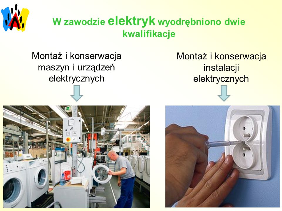 W zawodzie elektryk wyodrębniono dwie kwalifikacje Montaż i konserwacja maszyn i urządzeń elektrycznych Montaż i konserwacja instalacji elektrycznych