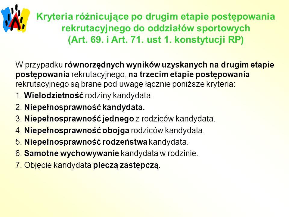 Kryteria różnicujące po drugim etapie postępowania rekrutacyjnego do oddziałów sportowych (Art.