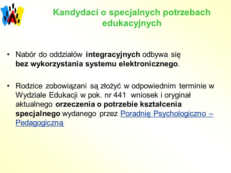 Kandydaci o specjalnych potrzebach edukacyjnych Nabór do oddziałów integracyjnych odbywa się bez wykorzystania systemu elektronicznego.