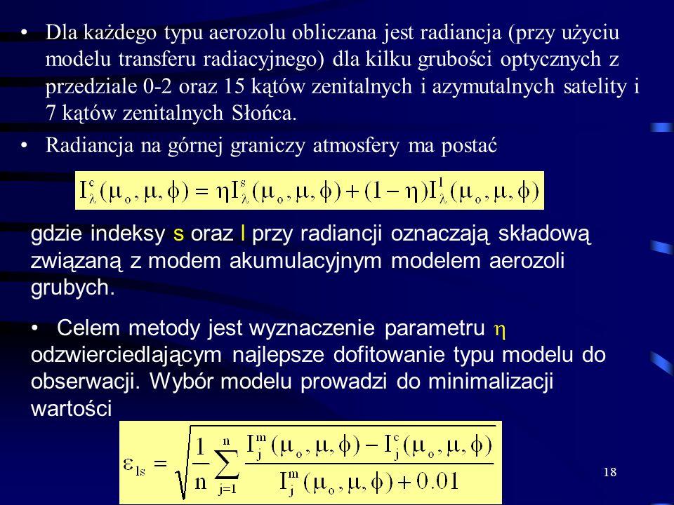 18 Dla każdego typu aerozolu obliczana jest radiancja (przy użyciu modelu transferu radiacyjnego) dla kilku grubości optycznych z przedziale 0-2 oraz