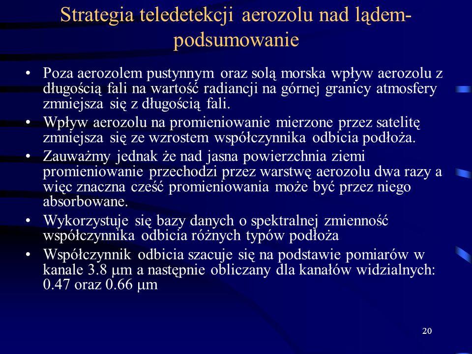 20 Strategia teledetekcji aerozolu nad lądem- podsumowanie Poza aerozolem pustynnym oraz solą morska wpływ aerozolu z długością fali na wartość radian