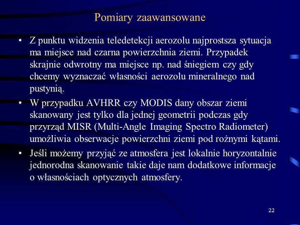 22 Pomiary zaawansowane Z punktu widzenia teledetekcji aerozolu najprostsza sytuacja ma miejsce nad czarna powierzchnia ziemi. Przypadek skrajnie odwr