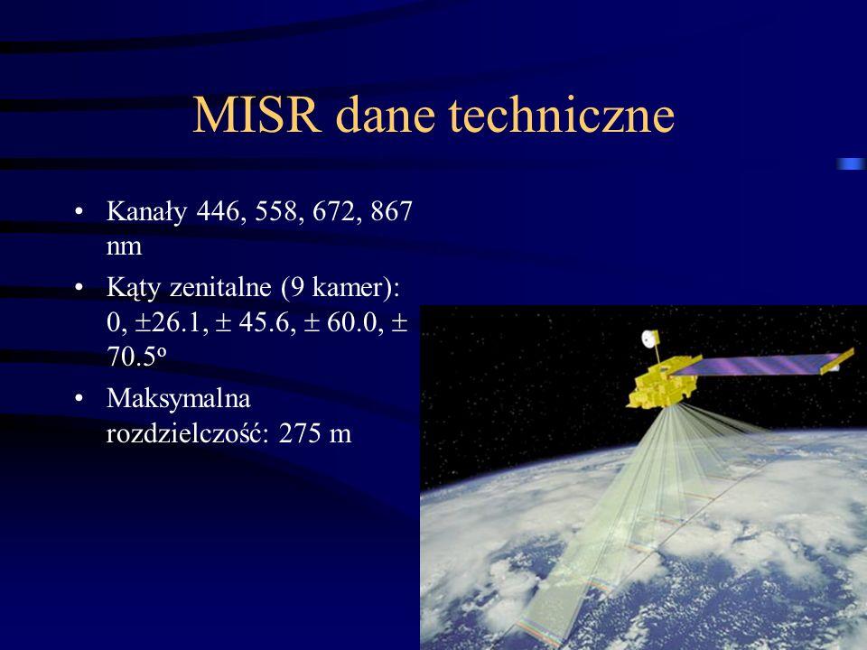 23 MISR dane techniczne Kanały 446, 558, 672, 867 nm Kąty zenitalne (9 kamer): 0,  26.1,  45.6,  60.0,  70.5 o Maksymalna rozdzielczość: 275 m