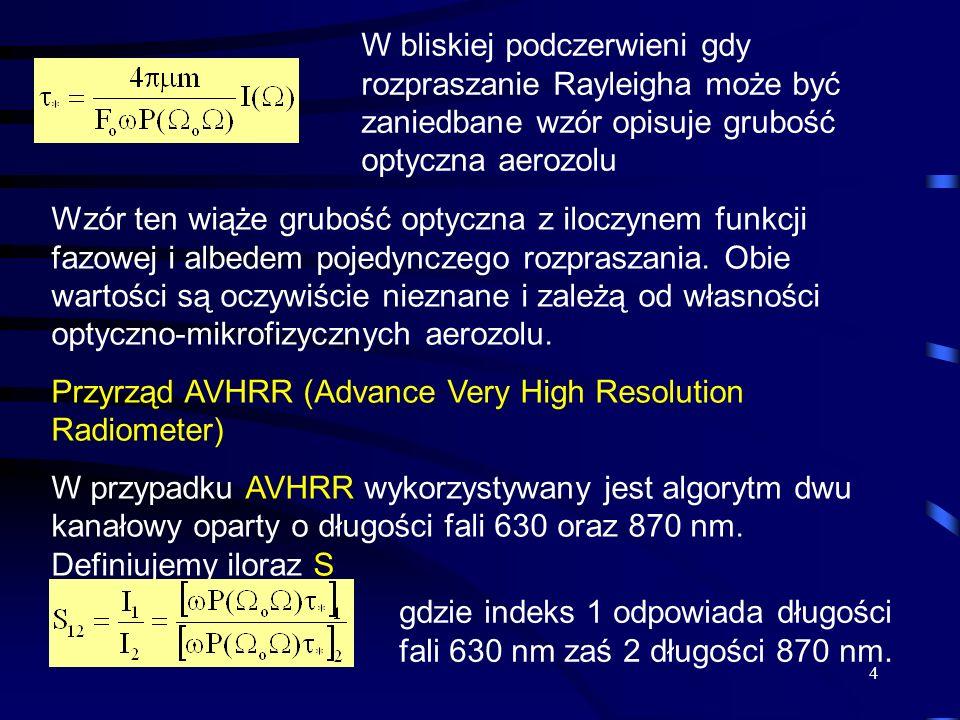 4 W bliskiej podczerwieni gdy rozpraszanie Rayleigha może być zaniedbane wzór opisuje grubość optyczna aerozolu Wzór ten wiąże grubość optyczna z iloc