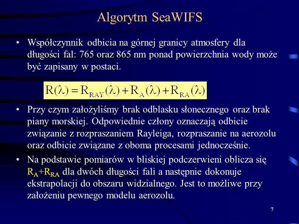 7 Algorytm SeaWIFS Współczynnik odbicia na górnej granicy atmosfery dla długości fal: 765 oraz 865 nm ponad powierzchnia wody może być zapisany w post