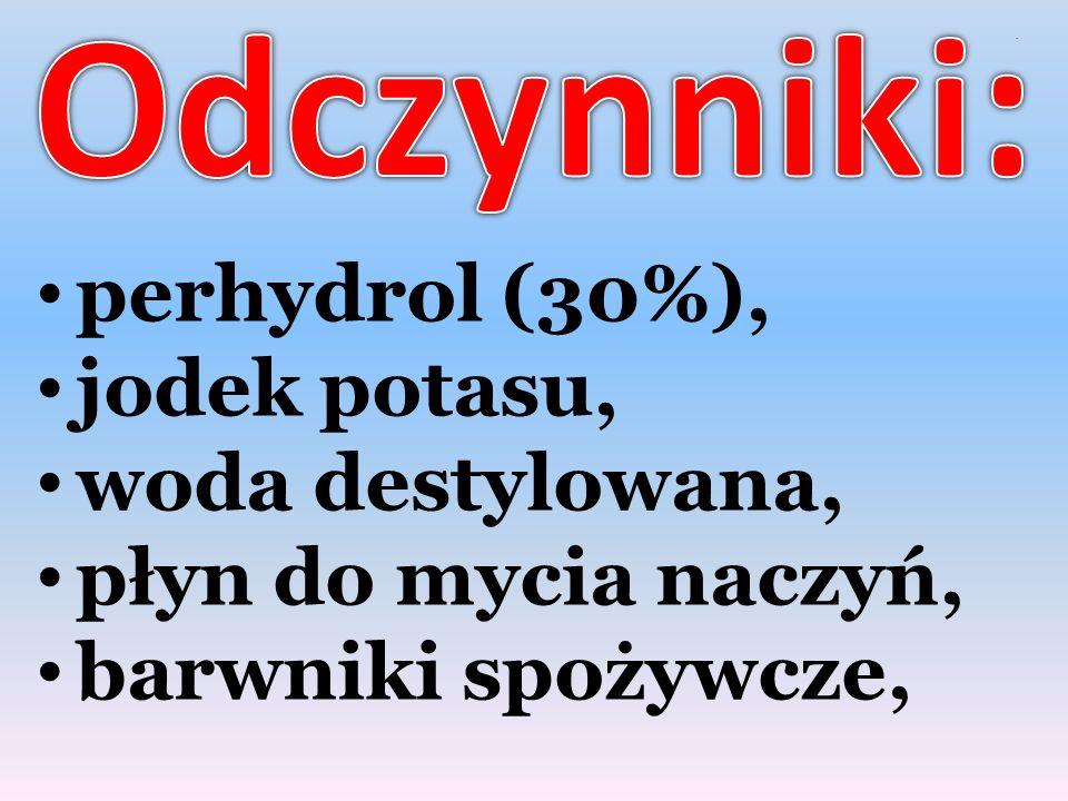 . perhydrol (30%), jodek potasu, woda destylowana, płyn do mycia naczyń, barwniki spożywcze,