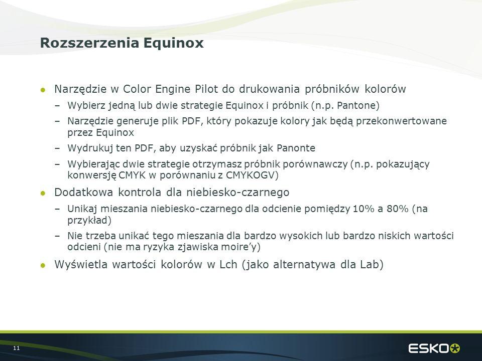 11 Rozszerzenia Equinox ●Narzędzie w Color Engine Pilot do drukowania próbników kolorów –Wybierz jedną lub dwie strategie Equinox i próbnik (n.p. Pant