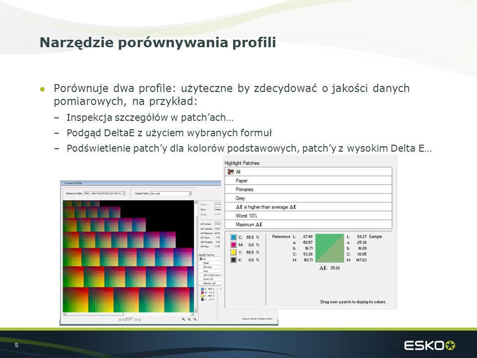 5 Narzędzie porównywania profili ●Porównuje dwa profile: użyteczne by zdecydować o jakości danych pomiarowych, na przykład: –Inspekcja szczegółów w patch'ach… –Podgąd DeltaE z użyciem wybranych formuł –Podświetlenie patch'y dla kolorów podstawowych, patch'y z wysokim Delta E…
