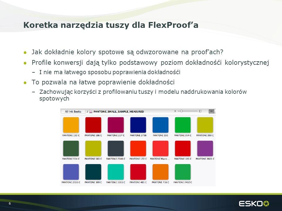 6 Koretka narzędzia tuszy dla FlexProof'a ●Jak dokładnie kolory spotowe są odwzorowane na proof'ach? ●Profile konwersji dają tylko podstawowy poziom d