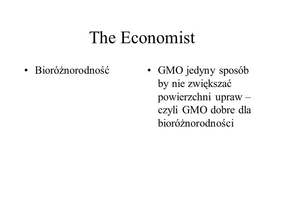 The Economist BioróżnorodnośćGMO jedyny sposób by nie zwiększać powierzchni upraw – czyli GMO dobre dla bioróżnorodności