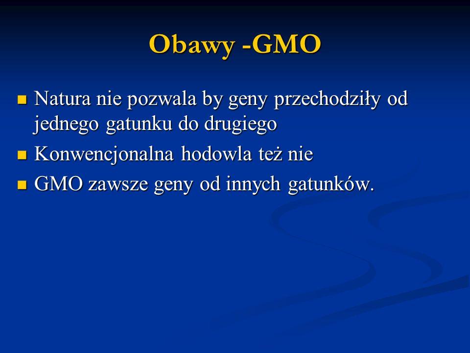 Obawy -GMO Natura nie pozwala by geny przechodziły od jednego gatunku do drugiego Natura nie pozwala by geny przechodziły od jednego gatunku do drugiego Konwencjonalna hodowla też nie Konwencjonalna hodowla też nie GMO zawsze geny od innych gatunków.