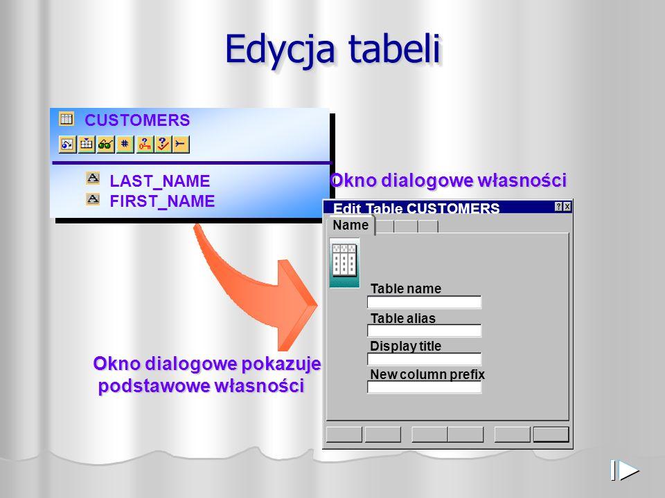 CUSTOMERS LAST_NAME FIRST_NAME Edycja tabeli Edit Table CUSTOMERS Table name Table alias Display title New column prefix Okno dialogowe własności Name Okno dialogowe pokazuje podstawowe własności