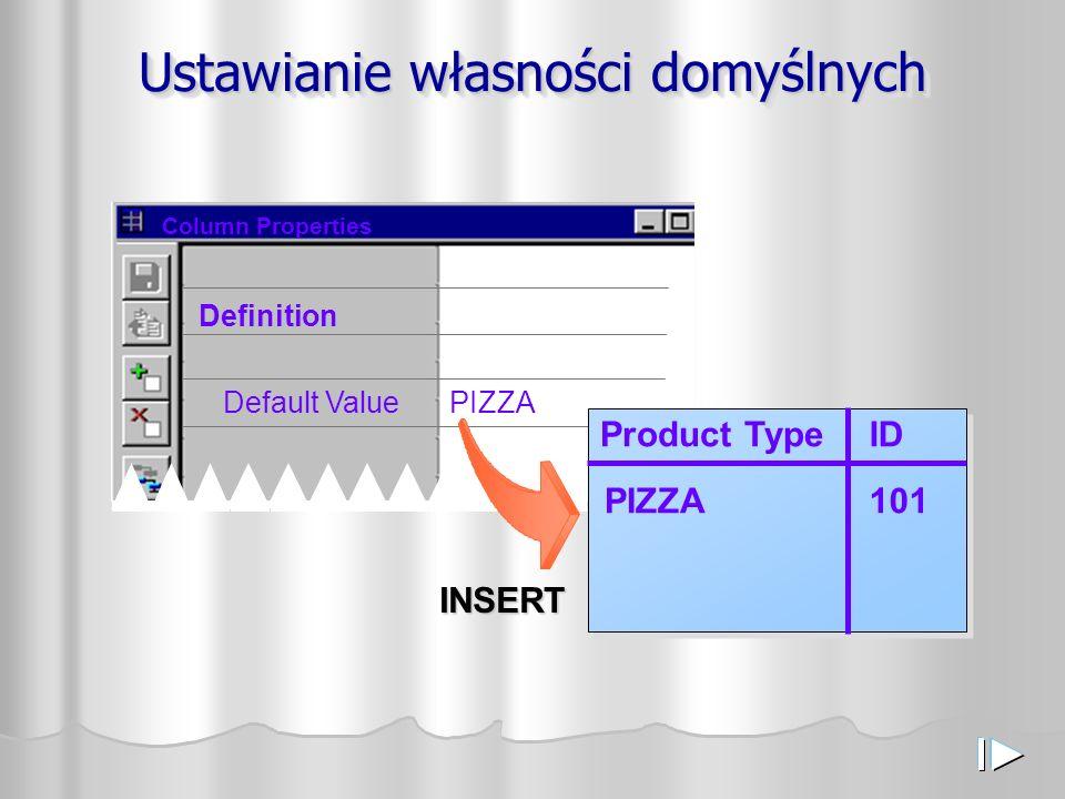 Ustawianie własności domyślnych Column Properties Definition Default ValuePIZZA INSERT 101PIZZA Product TypeID