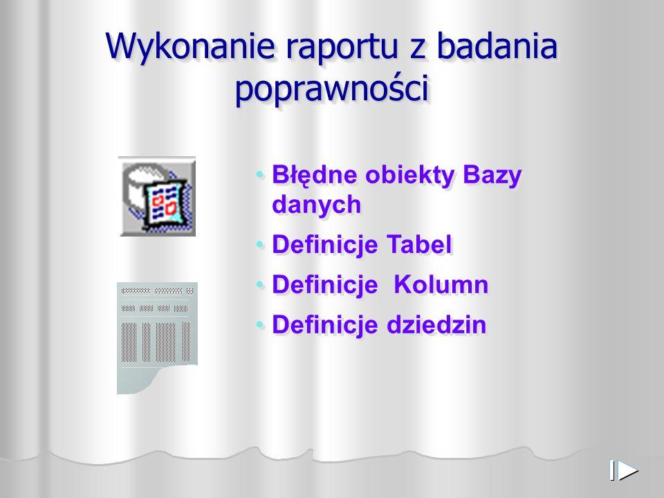 Wykonanie raportu z badania poprawności Błędne obiekty Bazy danych Definicje Tabel Definicje Kolumn Definicje dziedzin Błędne obiekty Bazy danych Definicje Tabel Definicje Kolumn Definicje dziedzin