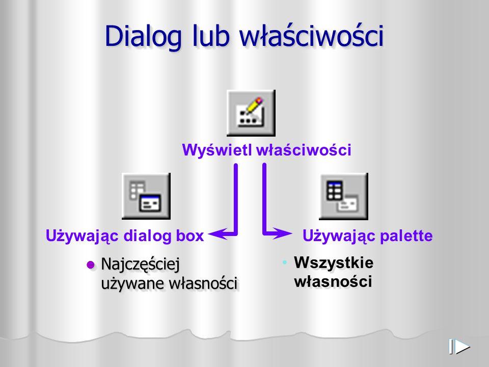 Dialog lub właściwości Najczęściej używane własności Najczęściej używane własności Wszystkie własności Używając dialog boxUżywając palette Wyświetl właściwości