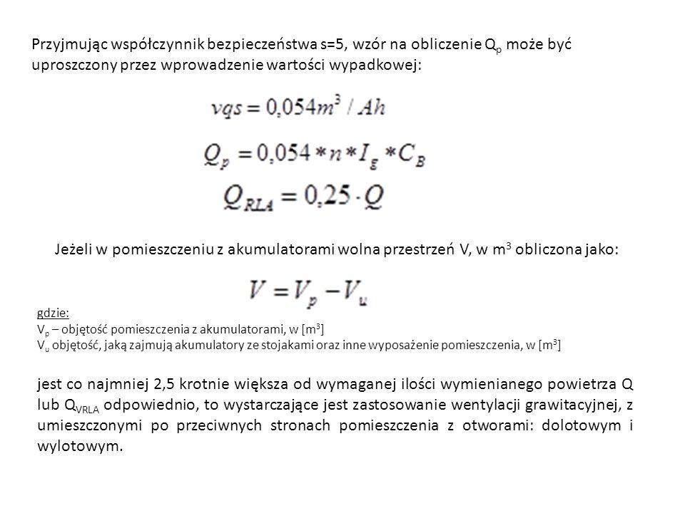 Przyjmując współczynnik bezpieczeństwa s=5, wzór na obliczenie Q p może być uproszczony przez wprowadzenie wartości wypadkowej: Jeżeli w pomieszczeniu z akumulatorami wolna przestrzeń V, w m 3 obliczona jako: gdzie: V p – objętość pomieszczenia z akumulatorami, w [m 3 ] V u objętość, jaką zajmują akumulatory ze stojakami oraz inne wyposażenie pomieszczenia, w [m 3 ] jest co najmniej 2,5 krotnie większa od wymaganej ilości wymienianego powietrza Q lub Q VRLA odpowiednio, to wystarczające jest zastosowanie wentylacji grawitacyjnej, z umieszczonymi po przeciwnych stronach pomieszczenia z otworami: dolotowym i wylotowym.