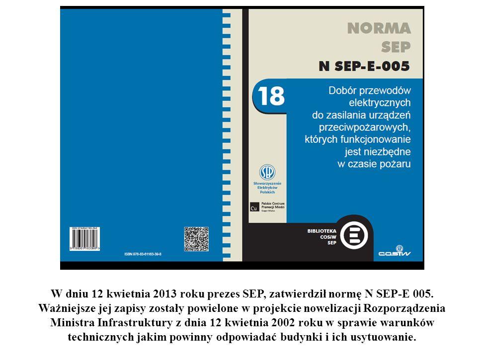 W dniu 12 kwietnia 2013 roku prezes SEP, zatwierdził normę N SEP-E 005. Ważniejsze jej zapisy zostały powielone w projekcie nowelizacji Rozporządzenia