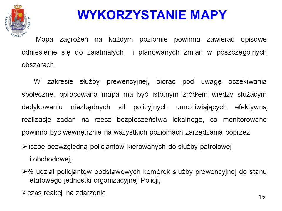 15 WYKORZYSTANIE MAPY Mapa zagrożeń na każdym poziomie powinna zawierać opisowe odniesienie się do zaistniałych i planowanych zmian w poszczególnych obszarach.