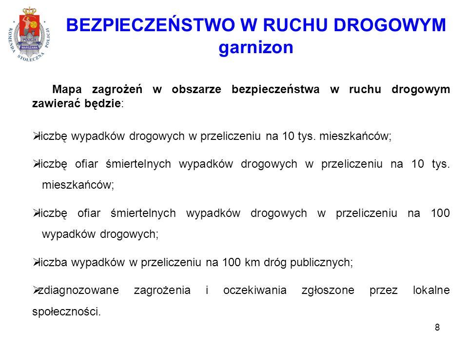 8 BEZPIECZEŃSTWO W RUCHU DROGOWYM garnizon Mapa zagrożeń w obszarze bezpieczeństwa w ruchu drogowym zawierać będzie:  liczbę wypadków drogowych w przeliczeniu na 10 tys.