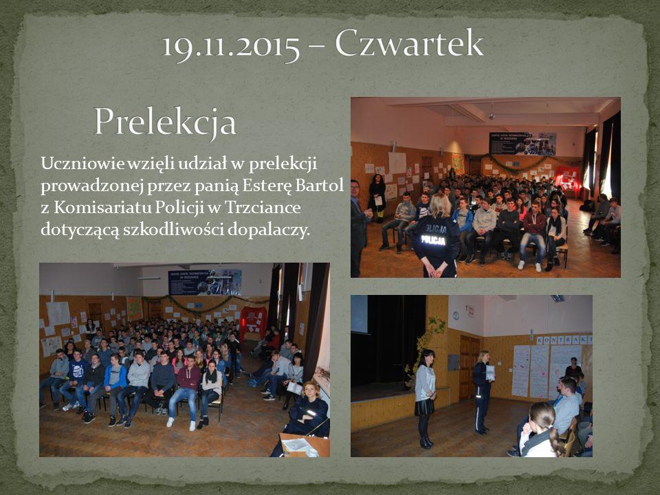 Uczniowie wzięli udział w prelekcji prowadzonej przez panią Esterę Bartol z Komisariatu Policji w Trzciance dotyczącą szkodliwości dopalaczy.