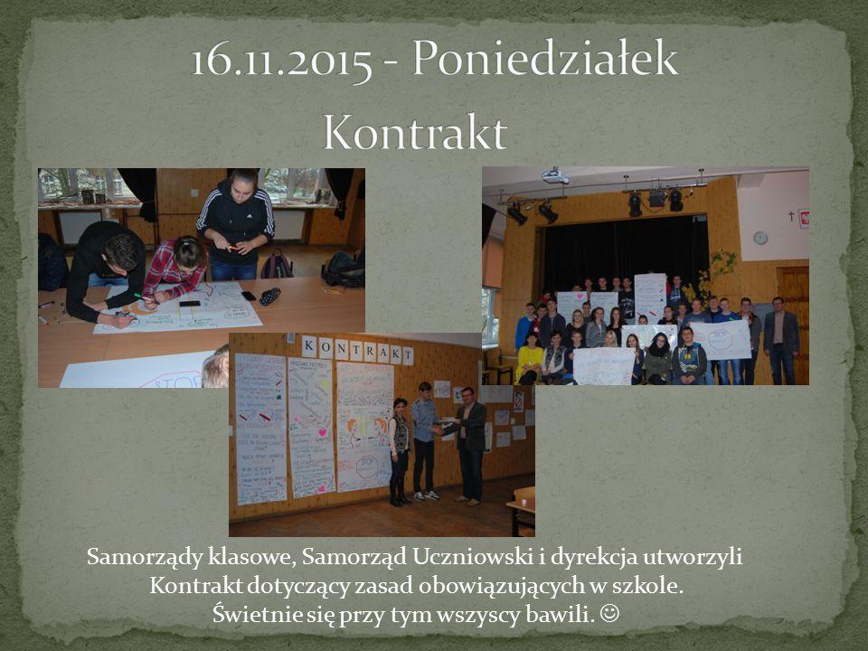 Samorządy klasowe, Samorząd Uczniowski i dyrekcja utworzyli Kontrakt dotyczący zasad obowiązujących w szkole.