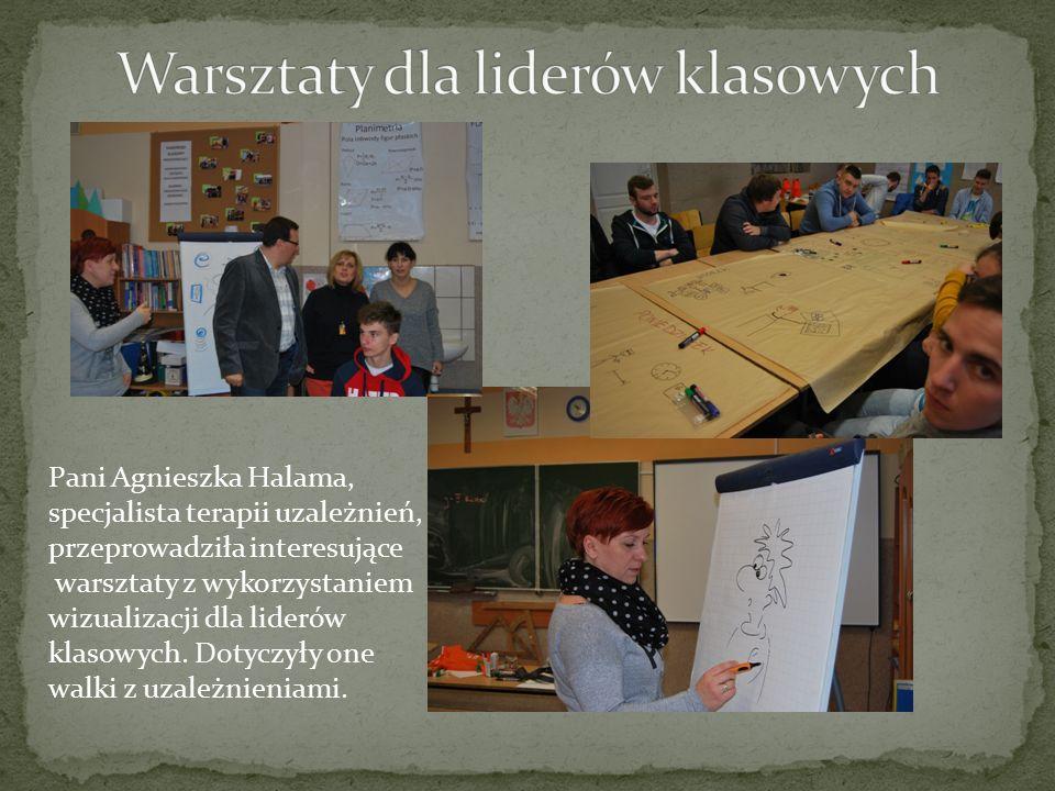 Pani Agnieszka Halama, specjalista terapii uzależnień, przeprowadziła interesujące warsztaty z wykorzystaniem wizualizacji dla liderów klasowych.