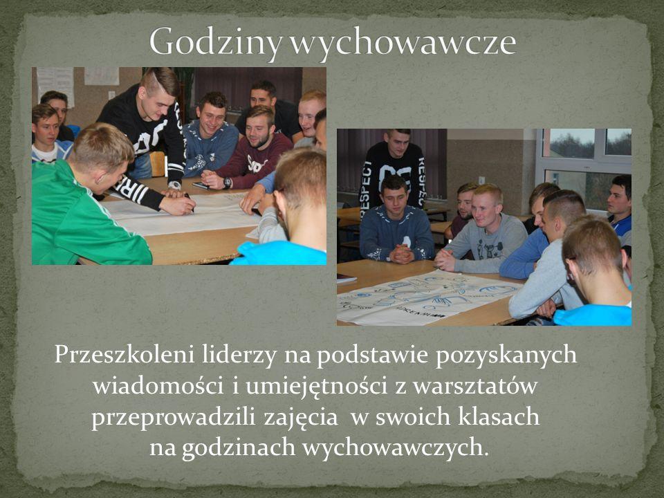 Przeszkoleni liderzy na podstawie pozyskanych wiadomości i umiejętności z warsztatów przeprowadzili zajęcia w swoich klasach na godzinach wychowawczych.