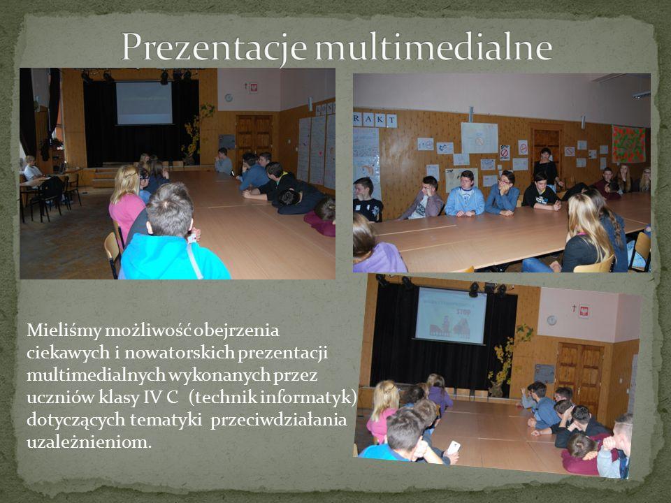Mieliśmy możliwość obejrzenia ciekawych i nowatorskich prezentacji multimedialnych wykonanych przez uczniów klasy IV C (technik informatyk) dotyczących tematyki przeciwdziałania uzależnieniom.