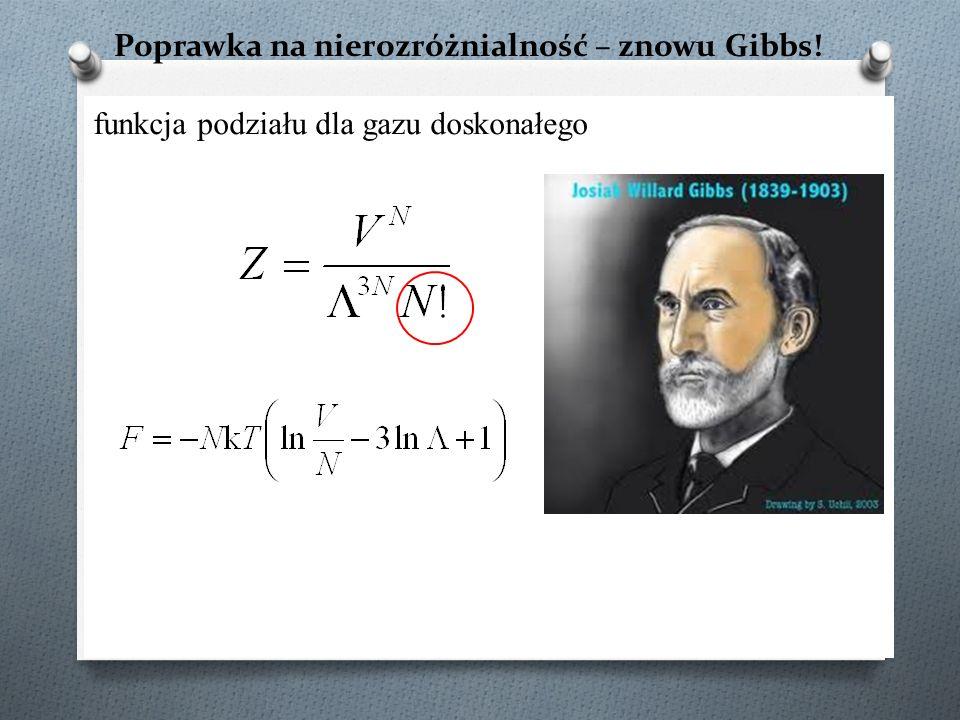 Poprawka na nierozróżnialność – znowu Gibbs! funkcja podziału dla gazu doskonałego