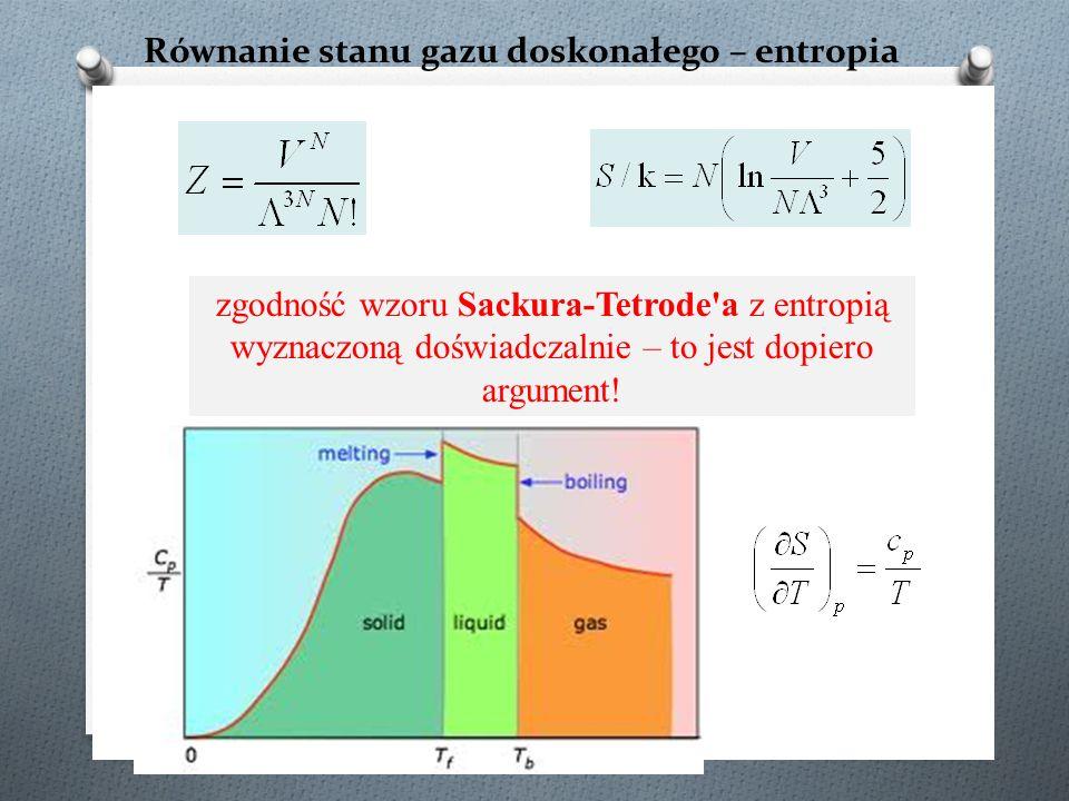zgodność wzoru Sackura-Tetrode'a z entropią wyznaczoną doświadczalnie – to jest dopiero argument!