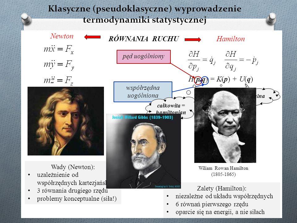 Klasyczne (pseudoklasyczne) wyprowadzenie termodynamiki statystycznej H(p,q) = K(p) + U(q) pęd uogólniony współrzędna uogólniona kinetyczna potencjaln
