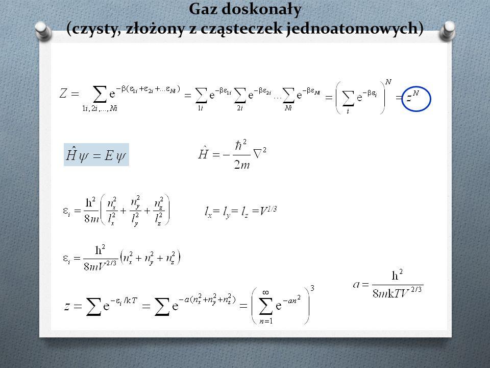 Funkcja podziału dla mieszaniny gazów doskonałych złożonych z cząsteczek jednoatomowych – potencjał chemiczny potencjał chemiczny