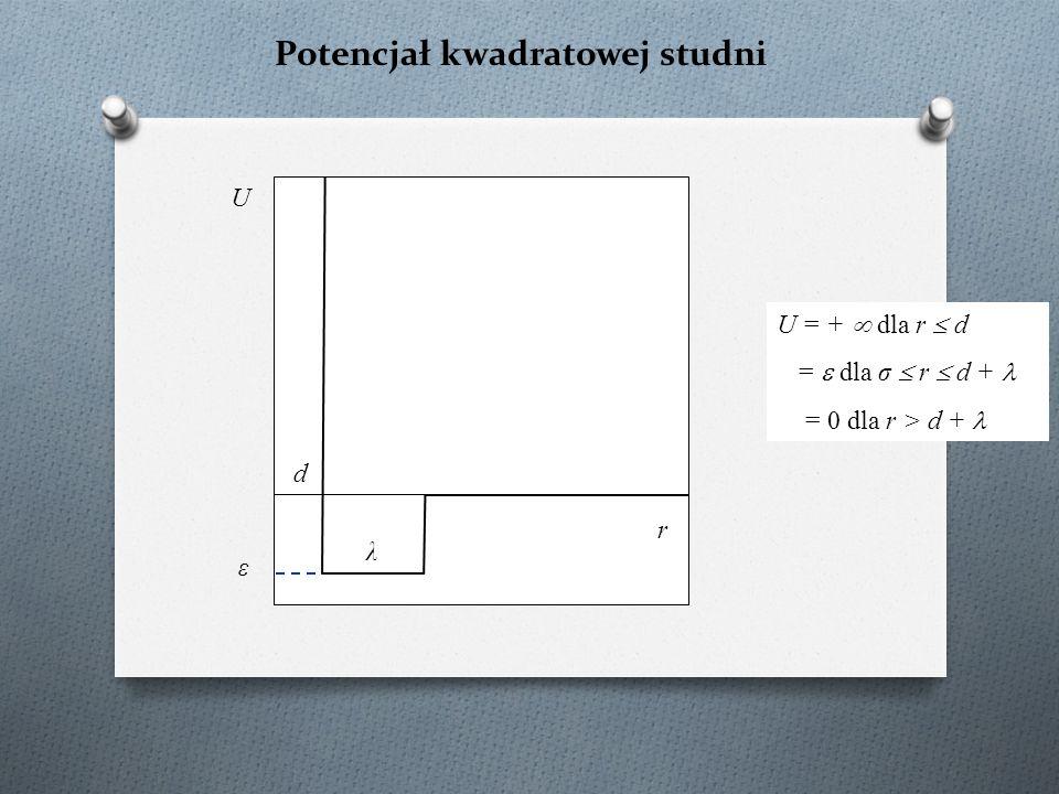 Potencjał kwadratowej studni U r d U = +  dla r  d =  dla σ  r  d + = 0 dla r > d + λ ε