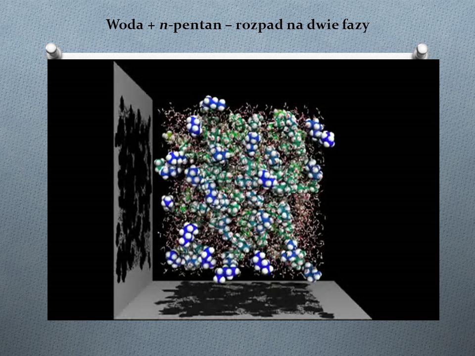 Woda + n-pentan – rozpad na dwie fazy