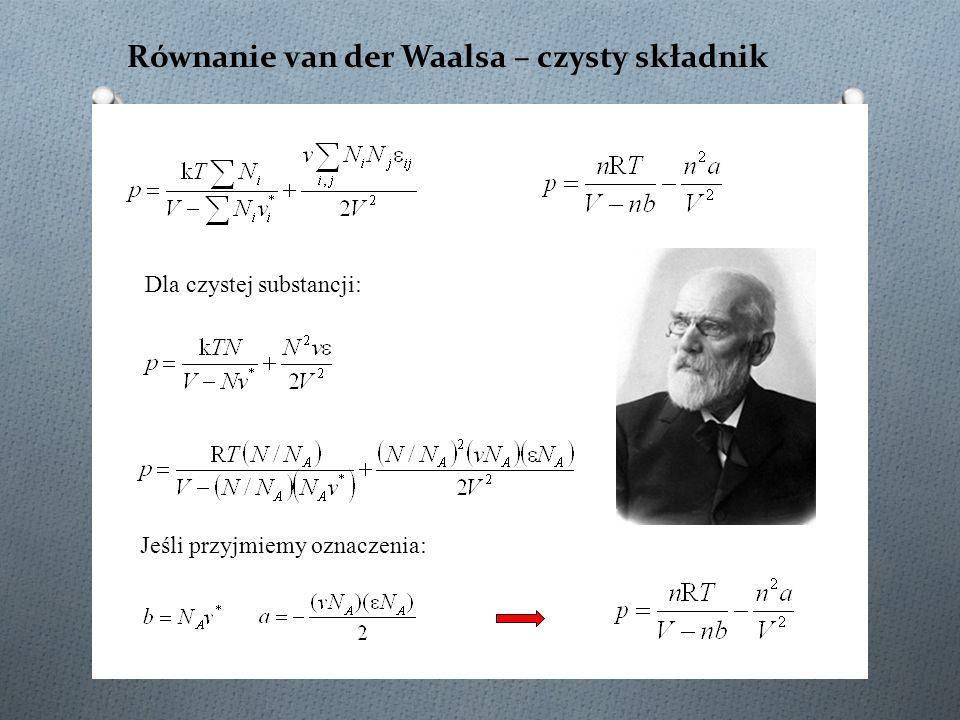 Równanie van der Waalsa – czysty składnik Dla czystej substancji: Jeśli przyjmiemy oznaczenia:
