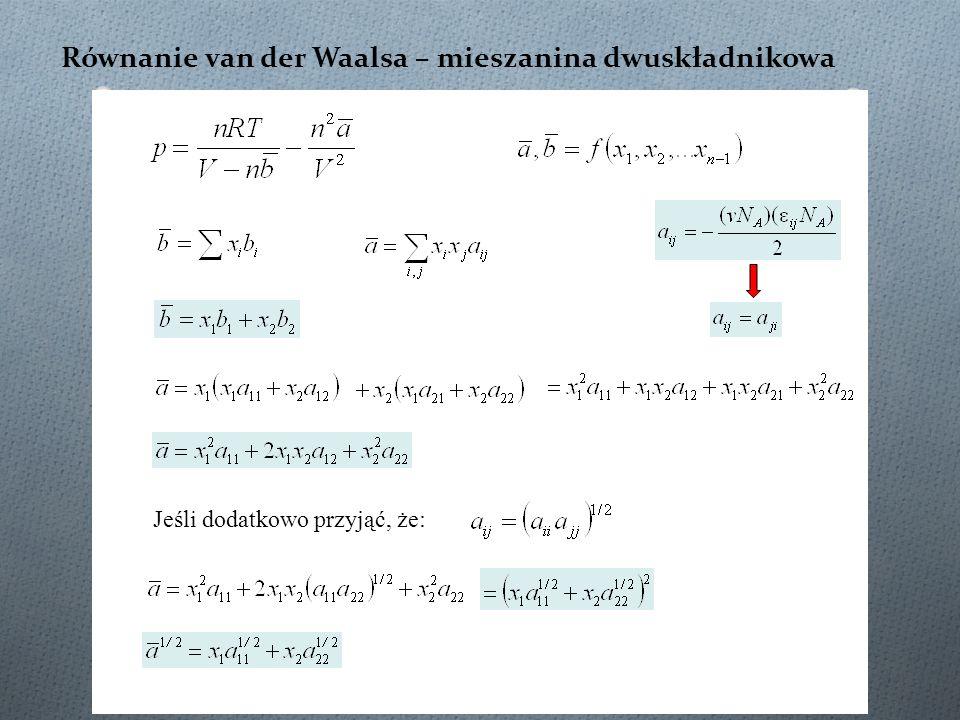 Równanie van der Waalsa – mieszanina dwuskładnikowa Jeśli dodatkowo przyjąć, że: