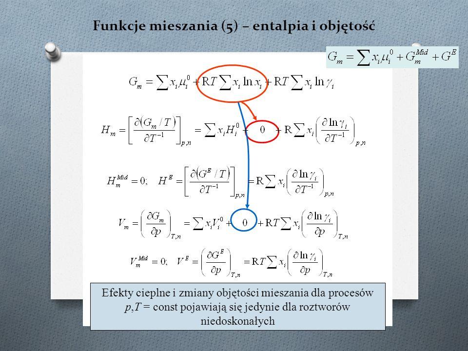 Funkcje mieszania (5) – entalpia i objętość Efekty cieplne i zmiany objętości mieszania dla procesów p,T = const pojawiają się jedynie dla roztworów n