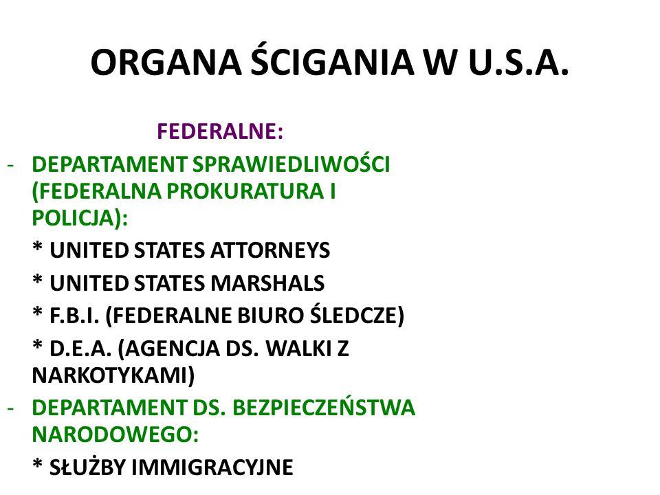 ORGANA ŚCIGANIA W U.S.A.