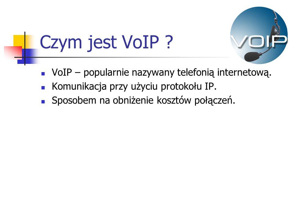 Czym jest VoIP ? VoIP – popularnie nazywany telefonią internetową. Komunikacja przy użyciu protokołu IP. Sposobem na obniżenie kosztów połączeń.