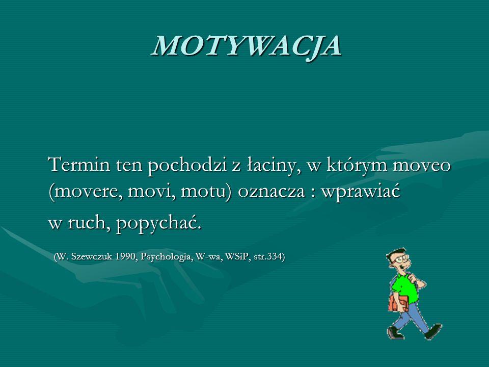 MOTYWACJA Termin ten pochodzi z łaciny, w którym moveo (movere, movi, motu) oznacza : wprawiać w ruch, popychać.